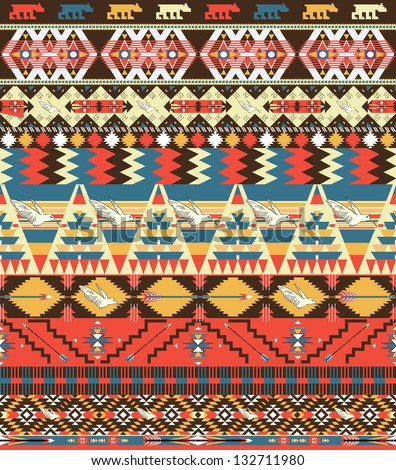 Seamless colorful aztec pattern with birds, flowers and arrow - stock vector