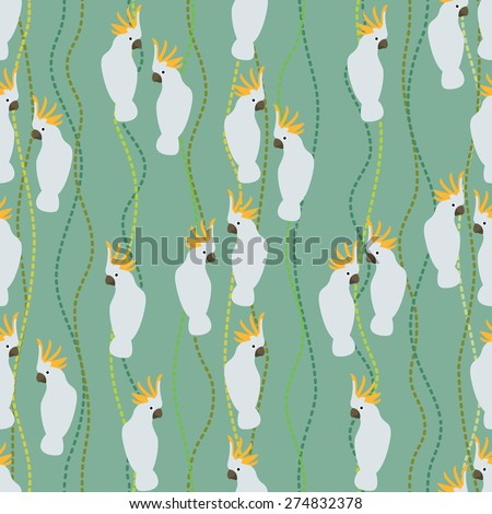 Seamless colorful background made of cockatoo  in flat design - stock vector