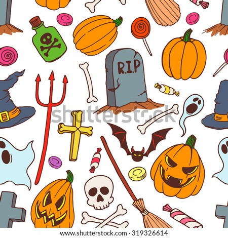 seamless colorful background of holiday halloween symbols. hand-drawn illustration - stock vector