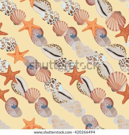Seamless colorful background with sea shells placed diagonally