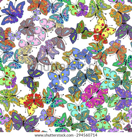 Seamless colorful butterfly pattern. Vector illustration 3 - stock vector