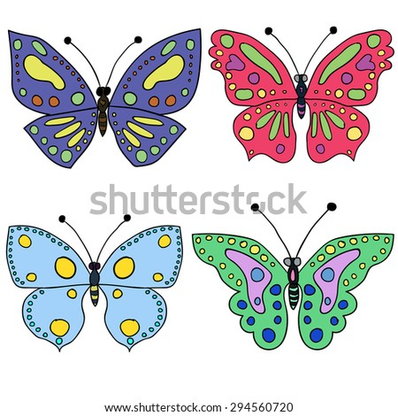 Seamless colorful butterfly pattern. Vector illustration 1 - stock vector