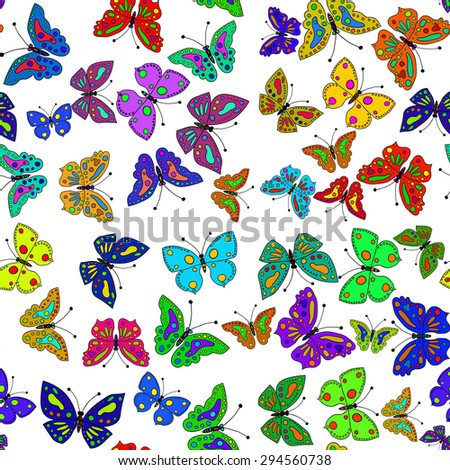 Seamless colorful butterfly pattern. Vector illustration 4 - stock vector