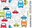 seamless colorful car pattern vector illustration - stock vector