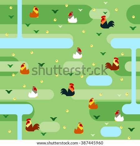 Seamless colorful chickens pattern in flat style, depicting colorful chickens in grassland background.