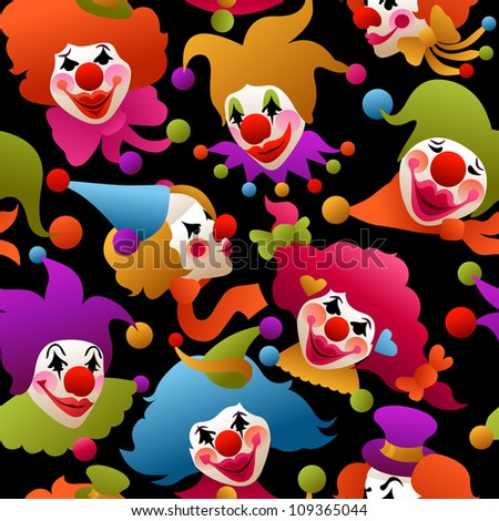seamless - colorful circus clowns wearing funny hats and accessories - stock vector