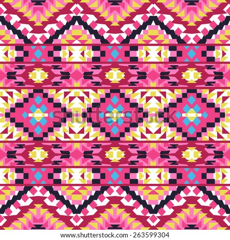 Seamless colorful ethnic pattern, vector illustration - stock vector