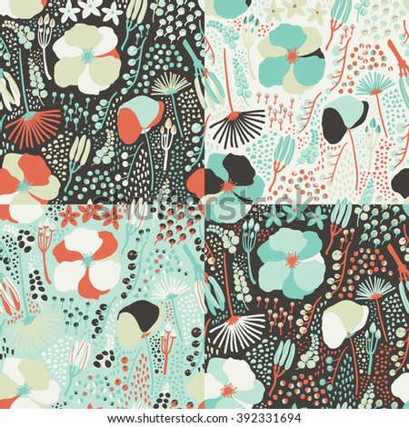 Seamless colorful floral pattern vector. Set of colorful variations.