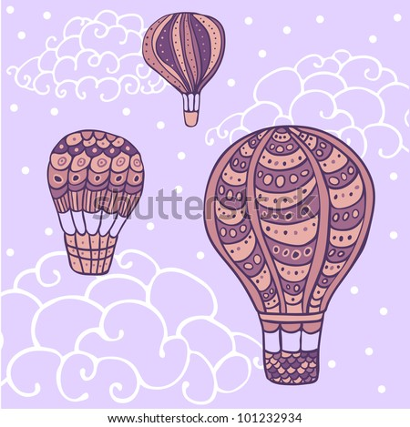 seamless colorful flying  hot air balloon pattern.clipping mask - stock vector
