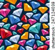 Seamless colorful gemstones background on dark. Jewels pattern. - stock photo