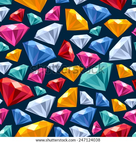 Seamless colorful gemstones background on dark. Jewels pattern. - stock vector
