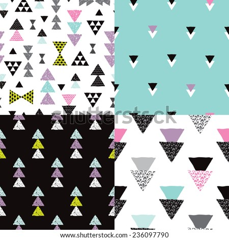 Seamless colorful geometric tribal aztec hand drawn background set collection pattern in vector - stock vector