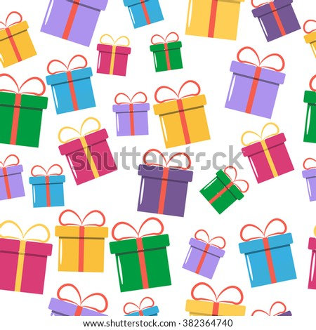 Seamless Colorful Gift Pattern. Vector illustration with different gift boxes in the flat style