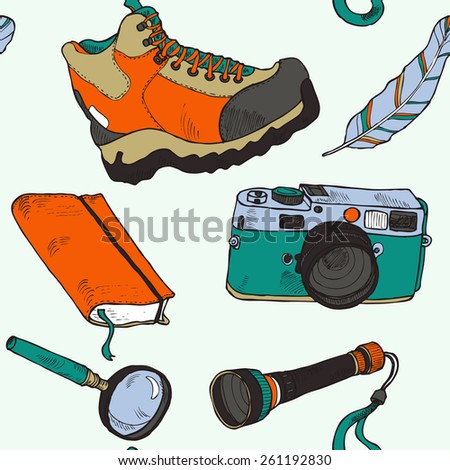 Seamless colorful hiking pattern in vector - stock vector