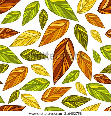 Seamless colorful leaf pattern