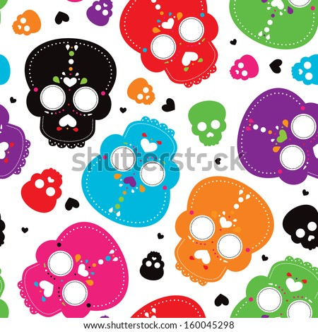 Seamless colorful mexican skull decoration background pattern in vector - stock vector