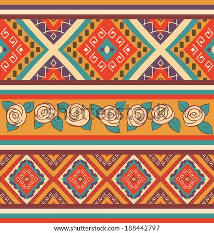 Seamless colorful navajo pattern with vintage roses