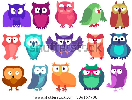 Seamless colorful owls for kids. Vector set illustration - stock vector