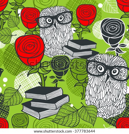 Seamless colorful pattern with birds in glasses and red roses. Vector background of clever owls.