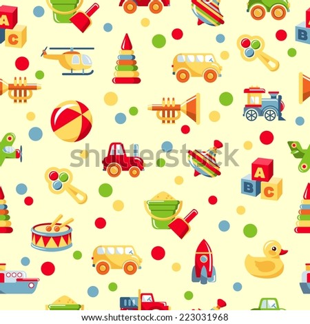 Seamless colorful pattern with different kind of toys