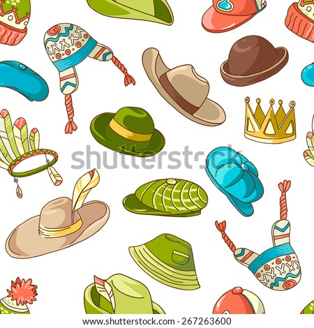 Seamless colorful pattern with doodle hats - stock vector