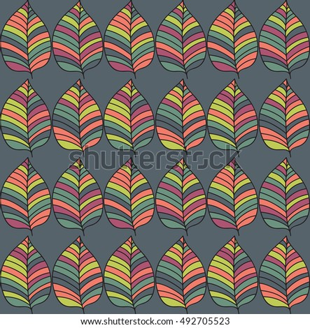 Seamless colorful pattern with leaves. Drawn various contrast coloristic background with floral motif. Autumn ornamental gaudy leave texture.