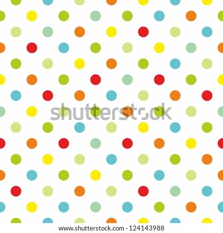 Seamless colorful polka dots pattern or texture with white background for kids background, blog, web design, scrapbooks, party or baby shower invitations and wedding cards. - stock vector