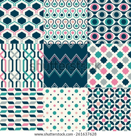 seamless colorful retro geometric pattern set - stock vector