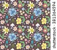 Seamless colorful vector pattern with spring flowers.Floral patten. Vector flowers pattern. Colorful floral background. Floral elements. Textile floral pattern. Spring background.  - stock vector