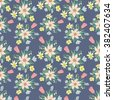Seamless colorful vector pattern with spring flowers.Floral patten. Vector flowers pattern. Colorful floral background. Floral elements. Textile floral pattern. Spring background. Vector floral print. - stock vector