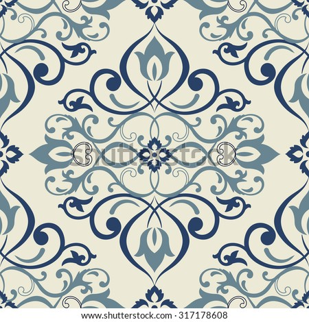 seamless colorful Victorian wallpaper. Tile - stock vector