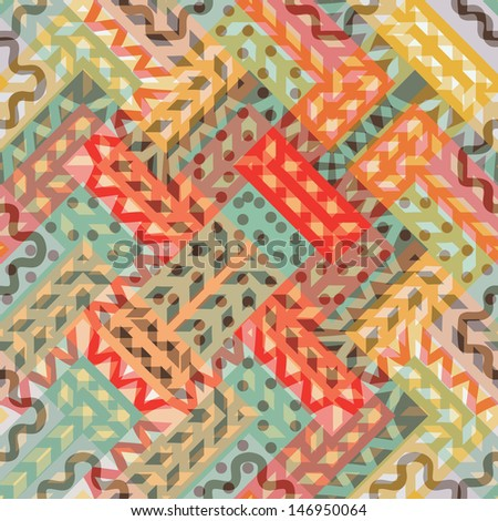 Seamless colorful zig zag pattern - stock vector