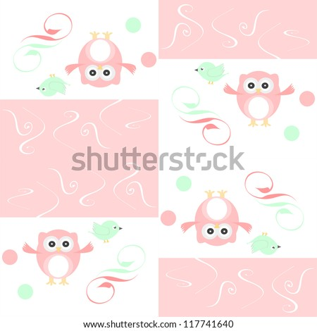 Seamless colourful owl and birds pattern for kids in vector - stock vector