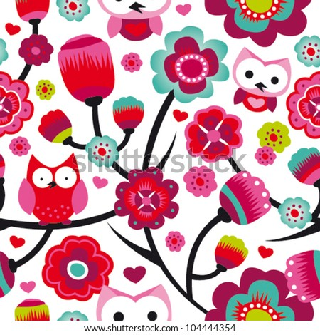 Seamless colourfull owl flower pattern for kids in vector - stock vector