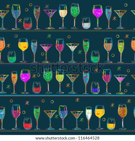 Seamless composition with cocktail glasses, vector background. - stock vector