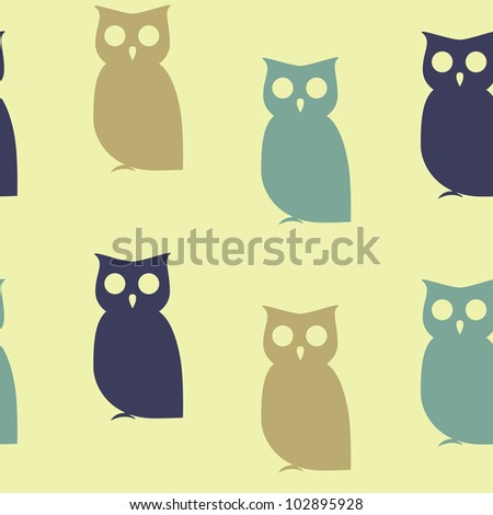 Seamless concept pattern of owls - stock vector