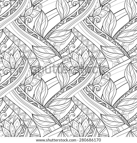 Seamless Contour Floral Pattern (Vector). Hand Drawn Monochrome Floral Texture, Decorative Flowers, Coloring Book - stock vector