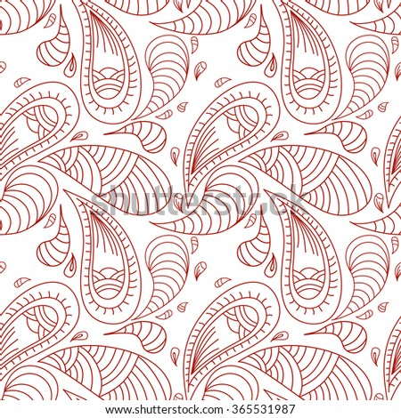 Seamless contour pattern with paisley. Abstract background, wallpaper, print, textile, cover, wrapper.