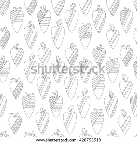 Seamless contour pattern with textile hearts.  Endless texture for romantic design, fabrics, wallpapers, greeting cards, wrappings, advertisement. - stock vector