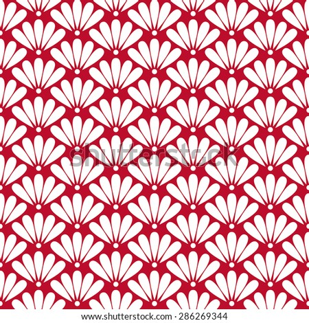 Seamless corporate red and white oriental floral pattern vector - stock vector