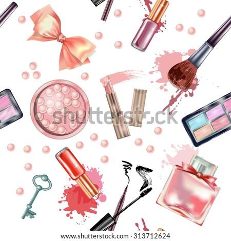 Seamless  cosmetics  and fashion background  with    make up artist objects: lipstick, eye shadows, sunglasses, mascara ,eyeliner,  nail polish on wood desk. Vector illustration - stock vector