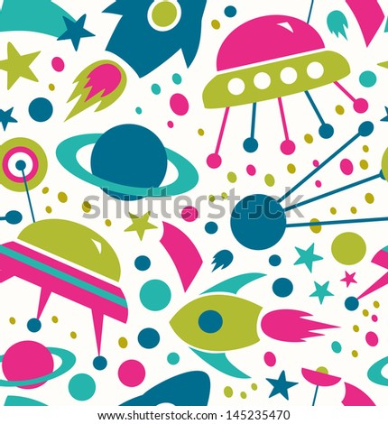Seamless cosmic pattern. Decorative space background with stars, rockets, spaceships, comets - stock vector