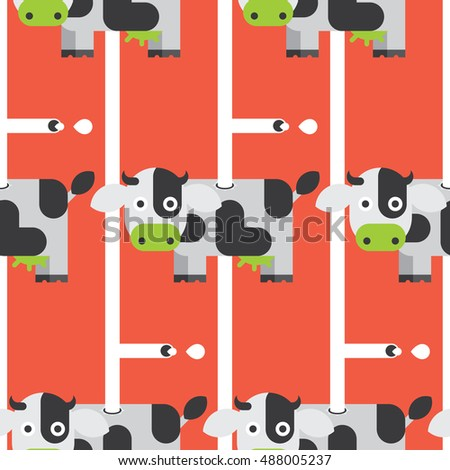 Seamless Cow and Milk pattern vector