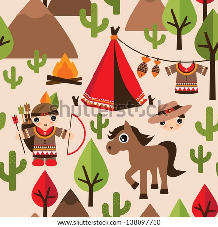 Seamless cowboy and indian illustration decorative background pattern in vector - stock vector
