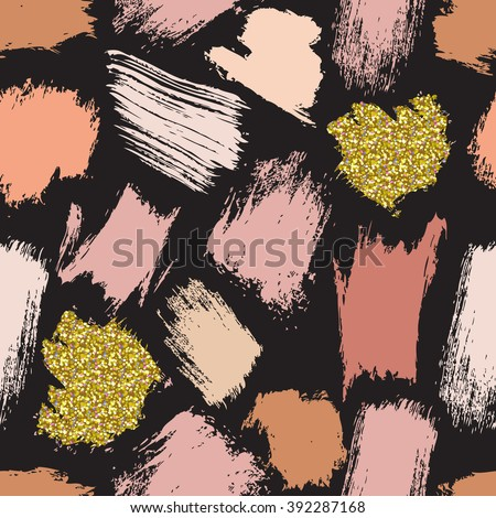 Seamless crazy fashion pattern with hand drawn brush strokes. Pink tints and gold on dark background. Vector illustration for your graphic design. - stock vector