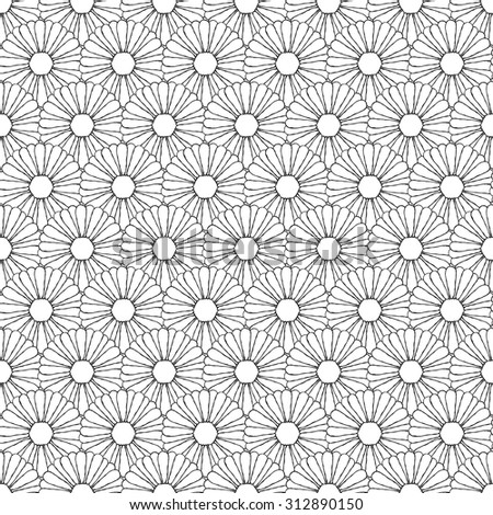 Seamless creative hand-drawn pattern composed of stylized flowers in black and white colors. Vector illustration. - stock vector