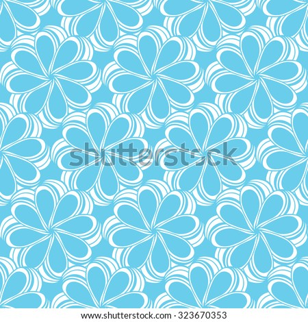 Seamless creative hand-drawn pattern composed of stylized flowers in white and pale blue colors. Vector illustration.