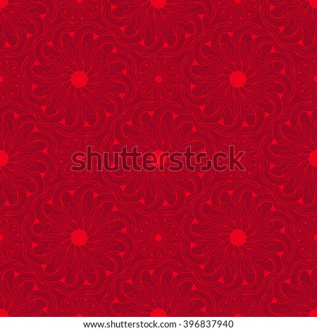 Seamless creative hand-drawn pattern of stylized flowers in bright red and maroon colors. Vector illustration.