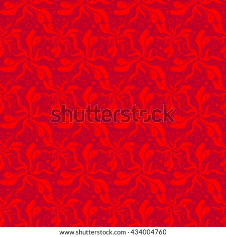Seamless creative hand-drawn pattern of stylized flowers in bright scarlet and maroon colors. Vector illustration.