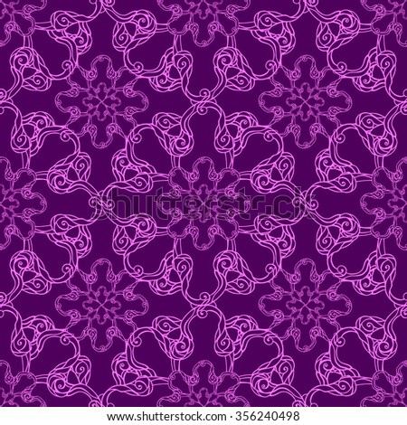 Seamless creative hand-drawn pattern of stylized flowers in dark violet and bright magenta colors. Vector illustration.